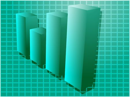 Three-d barchart financial diagram illustration over square grid Stock Photo