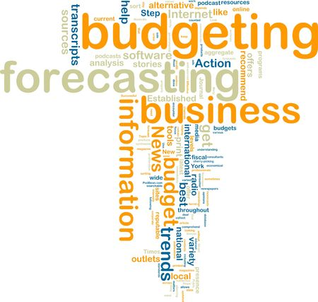 budgeting: Word cloud tags concept illustration of financial budgeting Stock Photo