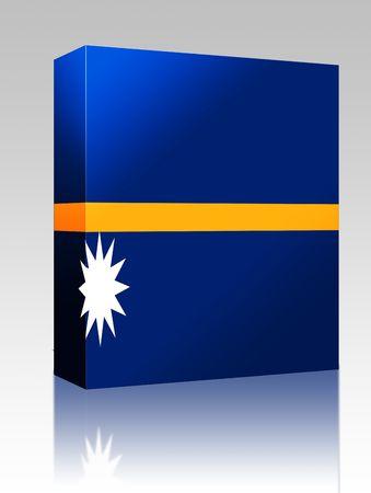 nauru: Software package box Flag of Nauru, national country symbol illustration