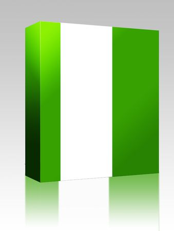country nigeria: Software package box Flag of Nigeria, national country symbol illustration Stock Photo