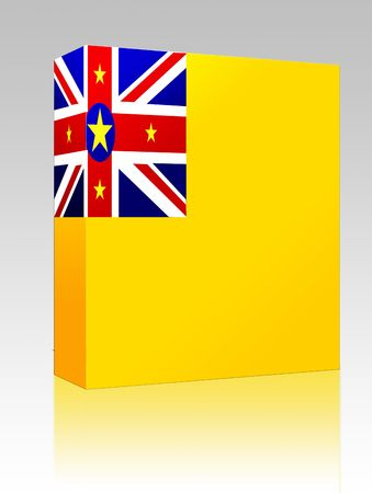 niue: Software package box Flag of Niue, national country symbol illustration