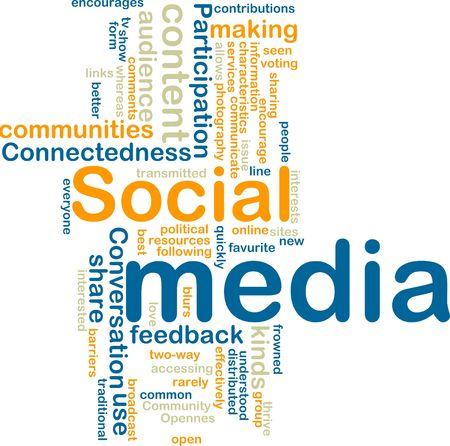 distributed: Word cloud tags concept illustration of social media