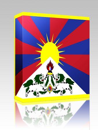 tibet: Software package box Flag of Tibet, national symbol illustration clipart