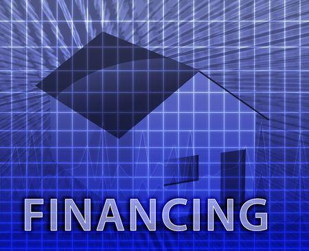 House financing digital collage illustration, subprime loan Stock Illustration - 4898896