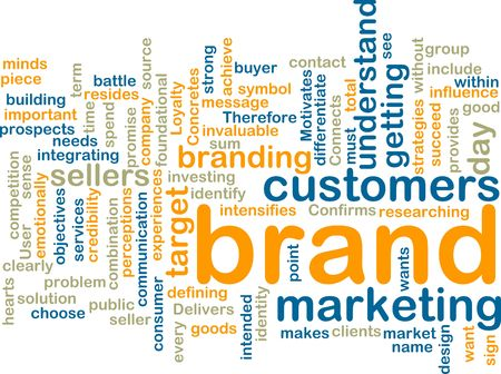 brand: Word cloud tags concept illustration of brand marketing