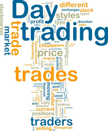 Word cloud tags concept illustration of day trading Stock Photo