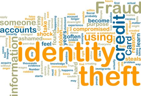 Word cloud tags concept illustration of identity theft