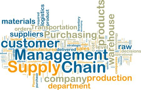 Word cloud tags concept illustration of supply chain management Stock Photo