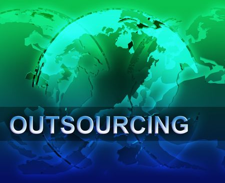 Outsourcing globalization international free trade economy illustration with globes
