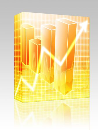barchart: Software package box Barchart and upwards line graph financial diagram