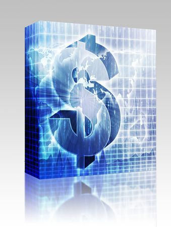 greenbacks: Software package box US Dollar symbol over world map
