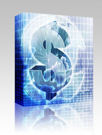 the americas: Software package box US Dollar symbol over globe of americas Stock Photo