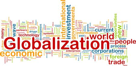 foreign trade: Word cloud tags concept illustration of globalization