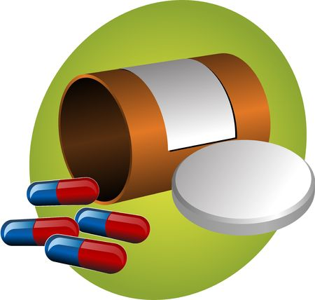 firstaid: Pillbox with label, cap open and scattered pills. illustration Stock Photo