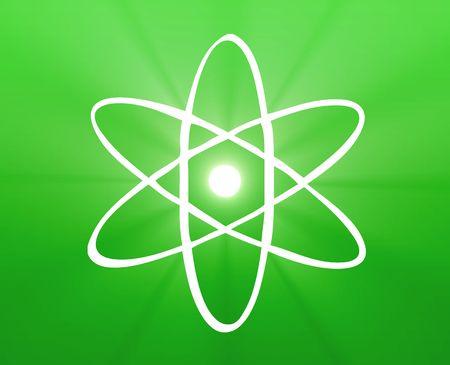 Atomic nuclear symbol scientific illustration of orbiting atom Stock Illustration - 4907297