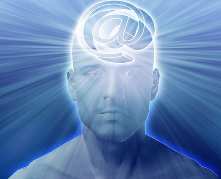 envisioning: Man thinking about at internet symbol, floating on her head Stock Photo