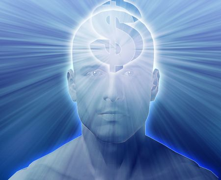 envisioning: Man thinking about money dollars,floating over head