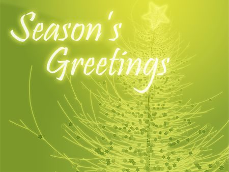 ch: Merry christmas seasons greetings on tree illustration Stock Photo