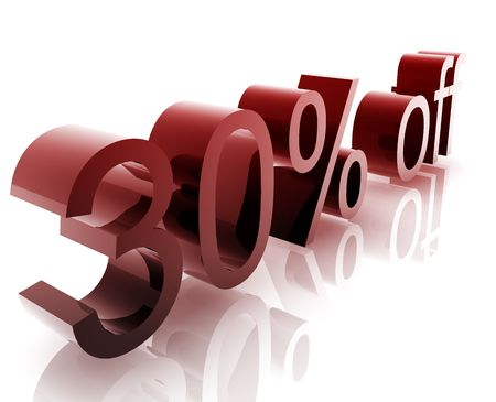 thirty: Thirty Percent discount, retail sales promotion announcement illustration Stock Photo