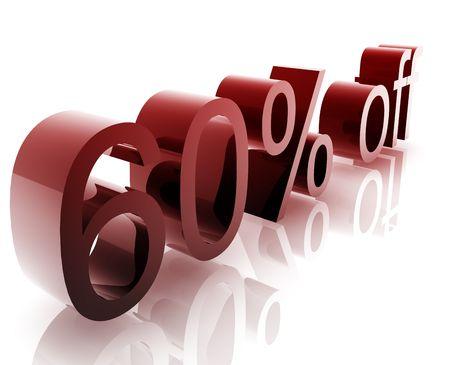 Sixty Percent discount, retail sales promotion announcement illustration illustration
