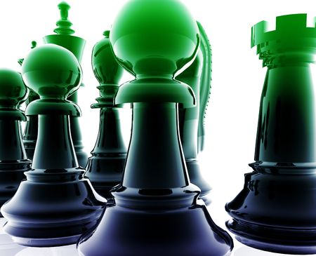 ordered: Chess set pieces illustration, glossy chrome metal style