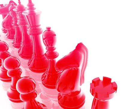 Chess set pieces illustration, glossy chrome metal style Stock Illustration - 4943546