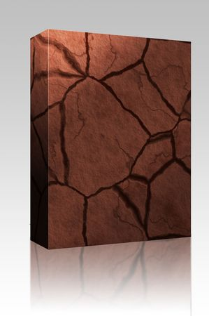 hard crust: Software package box Cracked parched earth ground surface texture illustration Stock Photo