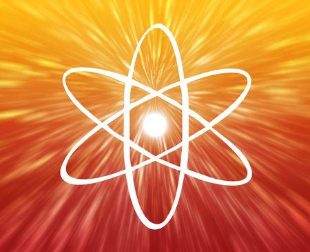 orbiting: Atomic nuclear symbol scientific illustration of orbiting atom Stock Photo