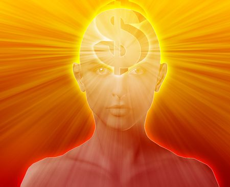 envision: Woman thinking about money dollars,floating over head