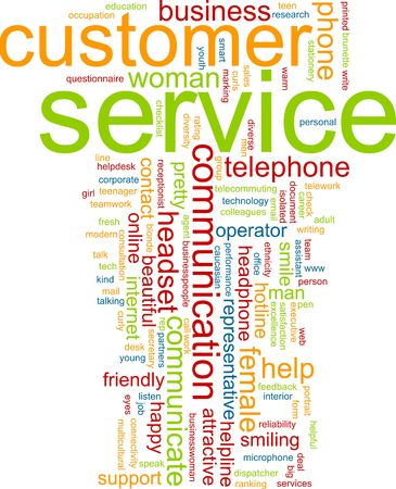 telework: Word cloud concept illustration of customer service Stock Photo