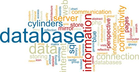 dataflow: Word cloud concept illustration of database storage Stock Photo