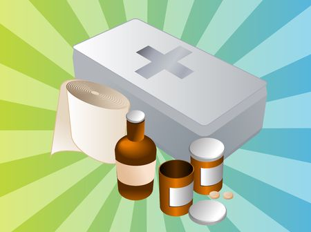 blue pills: First aid kit and its contents including pills and bandages, illustration