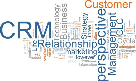 Word cloud concept illustration of CRM Customer Relationship Management Stock Photo