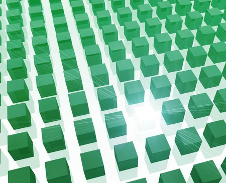 among: Unique special cube among many other cubes Stock Photo