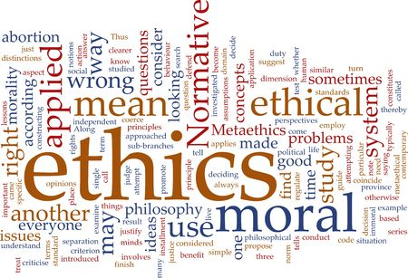 moral: Word cloud concept illustration of moral ethics