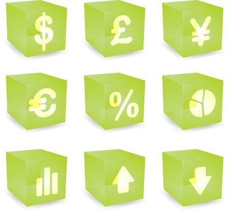 reflect: Finance symbols icon set over translucent cubes