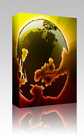 the americas: Software package box Globe map illustration of the Americas continents Stock Photo