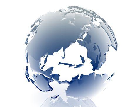americas: Globe map illustration of continental Americas, glossy, chrome