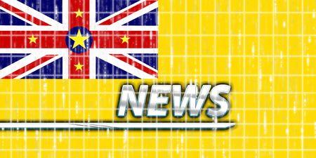 niue: News information splash Flag of Niue, national country symbol illustration
