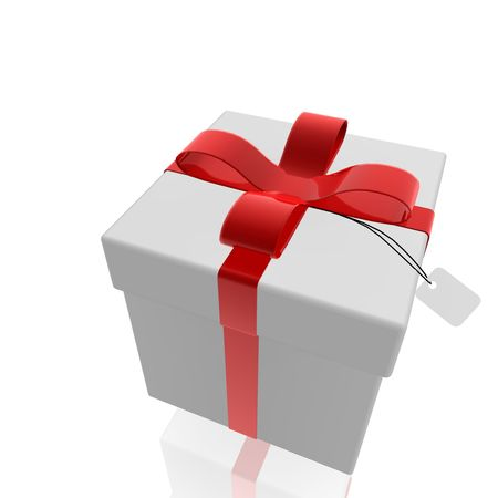 suprise: Wrapped fancy present illustration  isolated, red and white