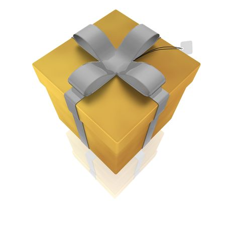 suprise: Wrapped fancy present illustration  isolated, gold and silver