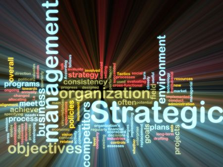 Word cloud tags concept illustration of strategic management glowing light effect