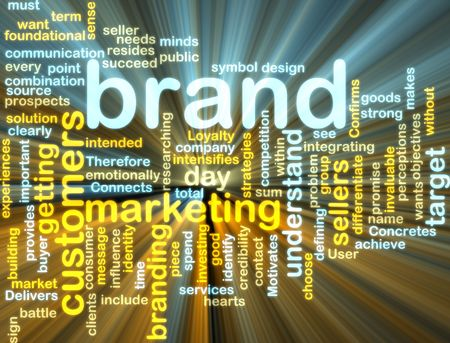 brand: Word cloud tags concept illustration of brand marketing glowing light effect