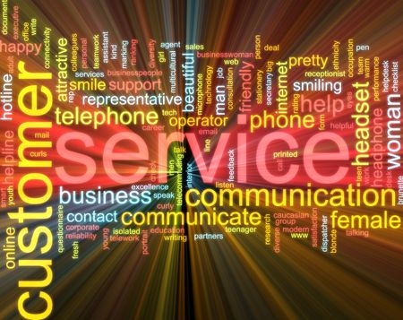 telework: Word cloud concept illustration of customer service glowing light effect