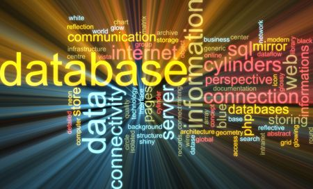 dataflow: Word cloud concept illustration of database storage glowing light effect  Stock Photo