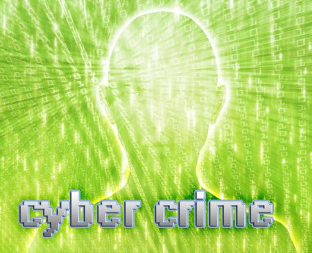 cyber girl: Cyber crime online fraud identity theft illustration