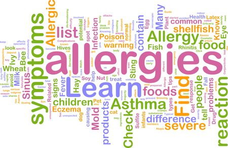 Word cloud concept illustration of  allergies symptoms illustration