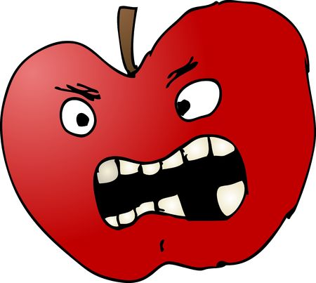 rotten fruit: Bad apple with evil expression, cartoon comic illustration Stock Photo