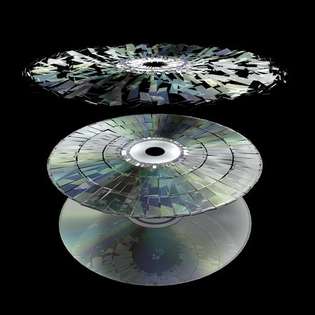 the corruption: Data information loss and corruption illustration, shattered cd