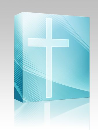 fidelity: Software package box Christian church cross, religious spiritual symbol illustration Stock Photo